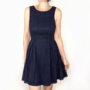 Monteau navy blue lace fit and flare dress